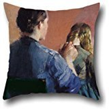 Oil Painting Christian Krohg - A Mother Plainting Her Little Daughter's Hair Cushion Cases 16 X 16 Inches / 40 By 40 Cm Gift Or Decor For Coffee House,lover,shop,outdoor,adults,father - Twin Sides