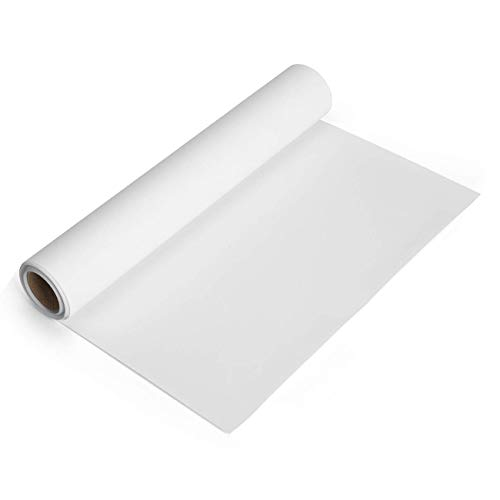 White Heat Transfer Vinyl Roll 12x5 Iron-On Vinyl White HTV Vinyl for T-Shirt Silhouette Cameo Cricut Machines Craft Cutters 12 Inches by 5 Feet