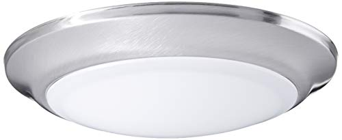 Westinghouse Lighting 6323100 Large LED Indoor/Outdoor Dimmable Surface Mount Wet Location, Brushed Nickel Finish with Frosted Lens,
