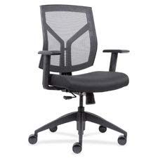 Lorell Mid-Back Chair with Mesh Back & Fabric Seat, Black