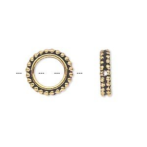 Bead frame antique gold-plated pewter 14x3mm beaded flat round fits up to 8mm bead