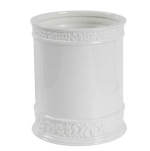 - Creative Bath CMO54WH Cosmopolitan White Scroll Porcelain Wastebasket