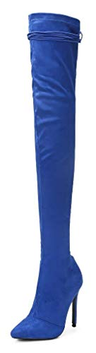 CAMSSOO Women's Fashion Back Tie Lace Up Pointy Toe Thigh High Over The Knee Stiletto Heel Boots Blue Velveteen Size US11 (Velvet Thigh High Boots)