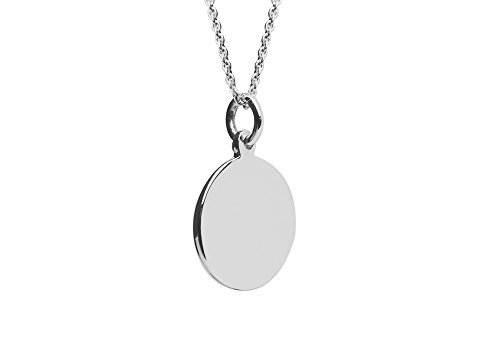 - apop nyc Sterling Silver Plain Round Disc Charm Pendant Necklace 18 inch Engravable