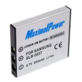 Maximal Power DB SAM SLB-0837 Replacement Battery for Samsung Digital Camera/Camcorder (D Li8 Lithium Ion Battery)