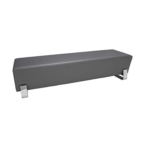 Vinyl Seating - OFM Axis Series Contemporary Triple Seating Bench, Textured Vinyl with Chrome Base, in Slate (4003C-SLT)