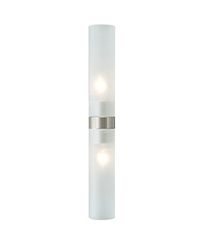 Lbl Lighting Twin Tube - LBL Lighting KHBTWNTBFRSC1B1004 Vanity Lights with Frosted Glass Shades, Satin Nickel Finish