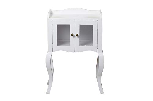 - YoTreasure Solid Mango Wood Nightstand Side End Table with Drawer, White