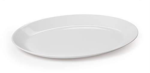 G.E.T. Enterprises White 10 Oval Coupe Serving Platter Melamine Plastic, Settlement Collection OP-1080-AW (Pack of 12)