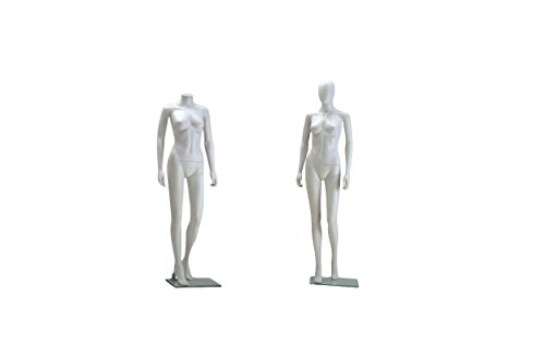 Headless Mannequin (Female Full Body Durable Plastic Abstract Egg Head Mannequin With Movable Head White (EF2))