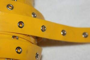 """1 Yard Bright Yellow Patent Leather Silver Metal Eyelet Grommet Trim 3/4"""" Wide Florist, Flowers, Arts & Crafts Gift Wrapping"""