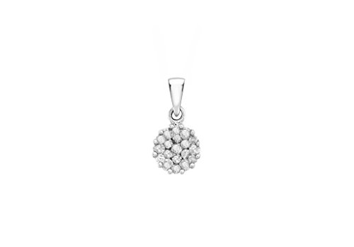 Pendentif Grappe or blanc 9ct-Diamant 0.25Cts