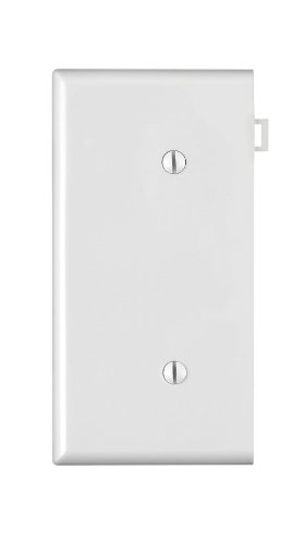No End Panels - Leviton PSE14-W 1-Gang No Device Blank Wallplate, Sectional, Thermoplastic Nylon, Strap Mount, End Panel, White