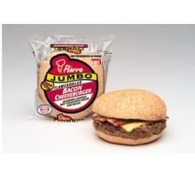 Advance Pierre Jumbo Bacon Cheeseburger, 6 Ounce -- 12 per case. Flamebroiled, chopped beef steak, topped with a slice of American cheese and crispy smoked bacon on a classic sesame seed bun. Fully cooked and individually packaged in mylar fi...