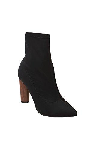 Ikrush Womens Naomi Faux Suede Heeled Boots Black XQ5w8