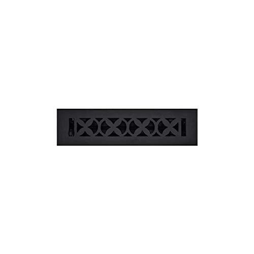 (Hand Crafted Floor Register - Re-Paintable, Hand Finished Floor Register – Elegant HVAC Floor Duct Register 2X10 with Metal Damper, Durable, Sand Casted, Powder Coated, Matte Flat (Black with Damper))