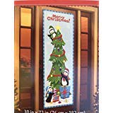 (Christmas Door Cover Santa Hanging Lights, Christmas Present, Santa & Elves (Penguins Decorating Tree))