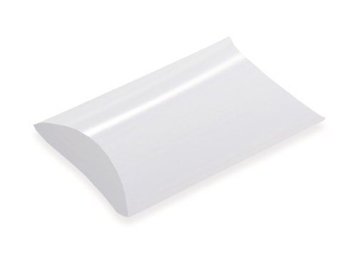Pack Of 12, Small Solid White One-Piece Folding Pillow Boxes 2-3/4
