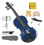 GRACE 1/4 Size Blue Acoustic Violin with Case and Bow+Rosin+2 Sets Strings+2 Bridges+Tuner+Shoulder Rest+Music Stand