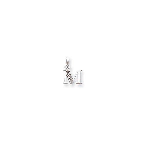 14K White Gold Polished .01ct Diamond Initial M Charm, 14 kt White (Charm Diamond Jewelers)