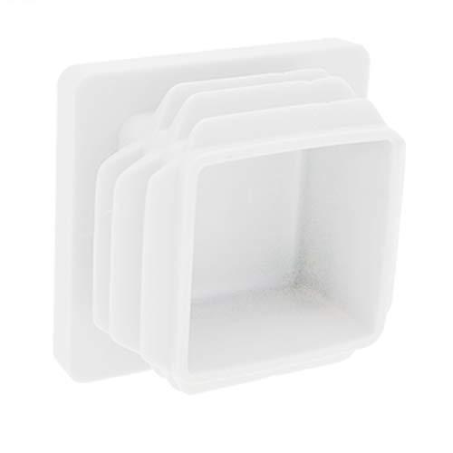 80 mm x 80 mm inserciones cuadradas 4 mm de grosor patas de silla Paquete de 10 insertos de tubo cuadrados 2 mm tapas de extremo de tubo tapas de secci/ón de caja color blanco