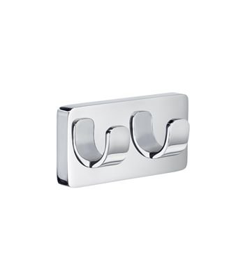 Smedbo ICE Double Towel Hook OK356 Polished Chrome .Include Glue.Fixing Without Drilling