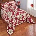 Collections Etc Nadia Floral Scroll Leaf Chenille Bedspread Burgundy Elegant Burgundy Background with Cream Tufts Queen