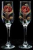 Celtic Glass Designs Set of 2 Hand Painted Champagne Flutes in a Mackintosh Pink Rose Design. ()