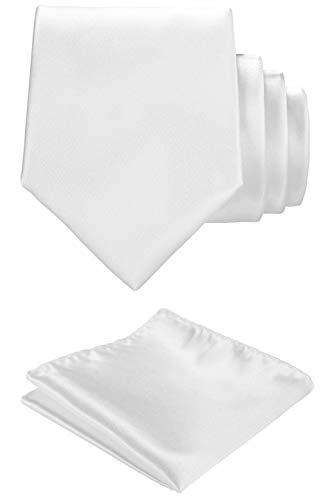 Solid color Neck tie.Pocket Square,Gift Box set. (White)