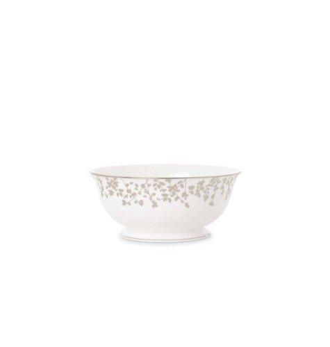 Kate Spade New York Women's Gardner Street Platinum Serving Bowl Large White -