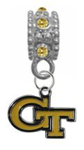 Georgia Tech Yellow Jackets GOLD Rhinestone/Gem Charm with Connector - Universal European Slide On Charm - ''Classic & Original Style'' Perfect For Bracelets, Necklaces, & DIY Jewelry by CustomCharms