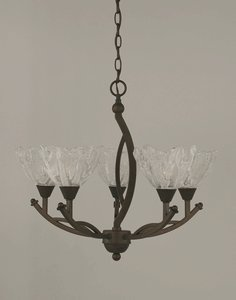 Toltec Lighting 275-BRZ-759 Bow - Five Light Bronze Chandelier, Italian Ice Glass