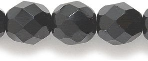 Preciosa Czech Fire 8 mm Faceted Round Polished Glass Bead, Black, 50-Pack