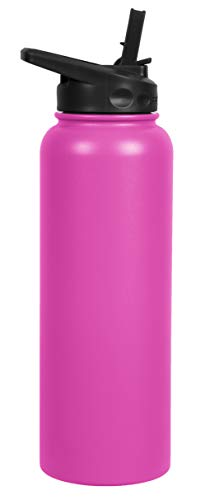 FIFTY/FIFTY 40oz, Double Wall Vacuum Insulated Sport Water Bottle, Stainless Steel, Straw Cap w/Wide Mouth, Lipstick Pink, 40oz/1.1L