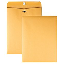 Quality Park 9 x 12 Clasp Envelopes with Deeply Gummed Flaps, Great for Filing, Storing or Mailing Documents, 28 lb Brown Kraft, 250 per Box (37590) (Kraft Quality Park Gummed Paper)