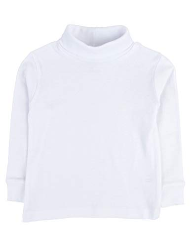 Leveret Girls Boys & Toddler Solid Turtleneck 100% Cotton Kids Shirt (Size 7 Years, White) (Cotton Turtleneck Shirt)