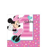 - amscan 1st Birthday Minnie Mouse Beverage Napkins 16 Count Party Supplies Minnie Fun to be One!