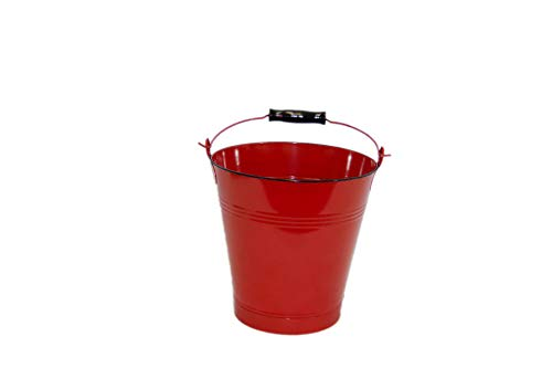 Small Red Enamel Pail - Set of 3