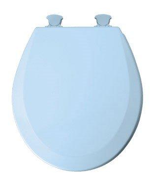 Mayfair Round Toilet Seat Beveled Wood, Molded, Premium Durable Multi Coat Enamel Blue ()