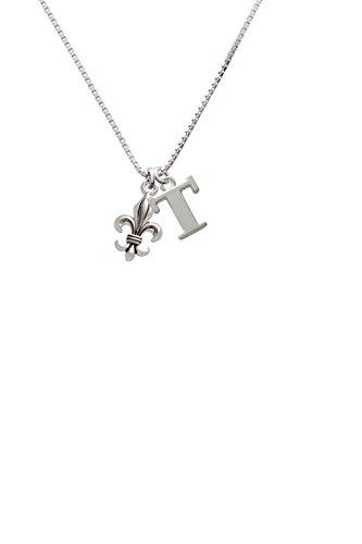 Medium Antiqued Fleur di Lis - Capital -T- Initial Necklace