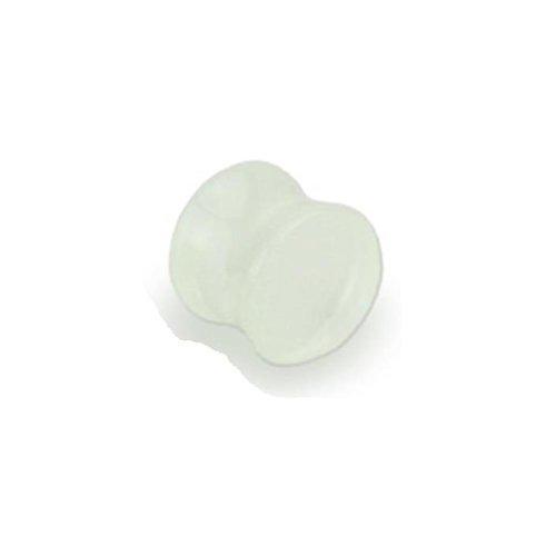 Coolbodyart Unisexe Lumineux Double Flared Acrylique Saddle Plug (blanc) disponible en tailles 3mm - 25mm; 3mm