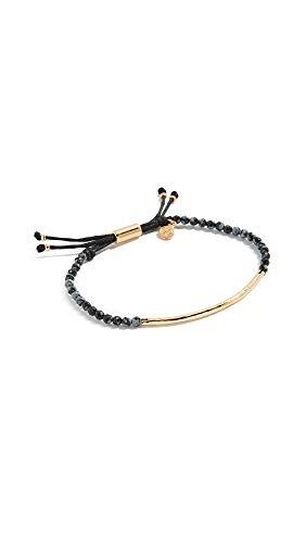(gorjana Women's Power Gemstone Bracelet for Courage, Gold/Snowflake Obsidian, One Size)