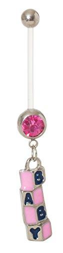 Pierced Owl 14G Baby Building Blocks with CZ Gem BioFlex Maternity Pregnancy Belly Button Ring (Pink)