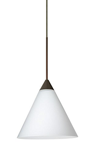 (Besa Lighting RXP-512107-BR Kani Collection 1-Light LV Quick-Connect Mini-Pendant with Rail Adapter, Bronze Finish with Opal Matte Glass Shade )