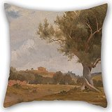 Artistdecor Pillowcover 16 X 16 Inches / 40 By 40 Cm(twice Sides) Nice Choice For Bar,office,sofa,outdoor,bar Seat,dinning Room Oil Painting Charles Lock Eastlake - A View At Girgenti In Sicily With