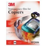 3M PP2950 Copier Transparency Film, 8-1/2-Inch X 11-Inch, 100 Per Box, Black on Clear