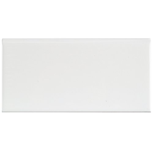 "SomerTile WXRPSWBN Pente Subway Bullnose Ceramic Wall Tile, 3"" x 6"", Glossy White"