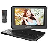 DBPOWER 14' Portable DVD Player with Swivel Screen, 3 Hours Rechargeable Battery, Supports SD Card and USB, with 1.8M Car Charger and 1.8M Power Adaptor (Black)