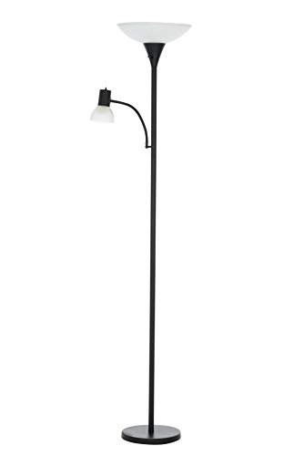 Catalina Lighting 21896-001 Transitional Metal Floor Lamp with Reading Light, LED Bulb Included, Torchiere, Black ()