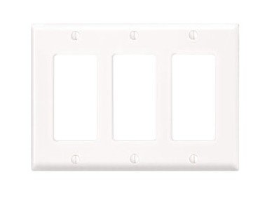 Leviton Decora Nylon 3 Gang - Leviton 80411-NW 3-Gang Decora/GFCI Device Wallplate, Standard Size, Thermoset, Device Mount, White